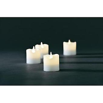 LED wax candle 4-piece set White Warm white (Ø x H) 4.2 cm x 4.5 cm Konstsmide