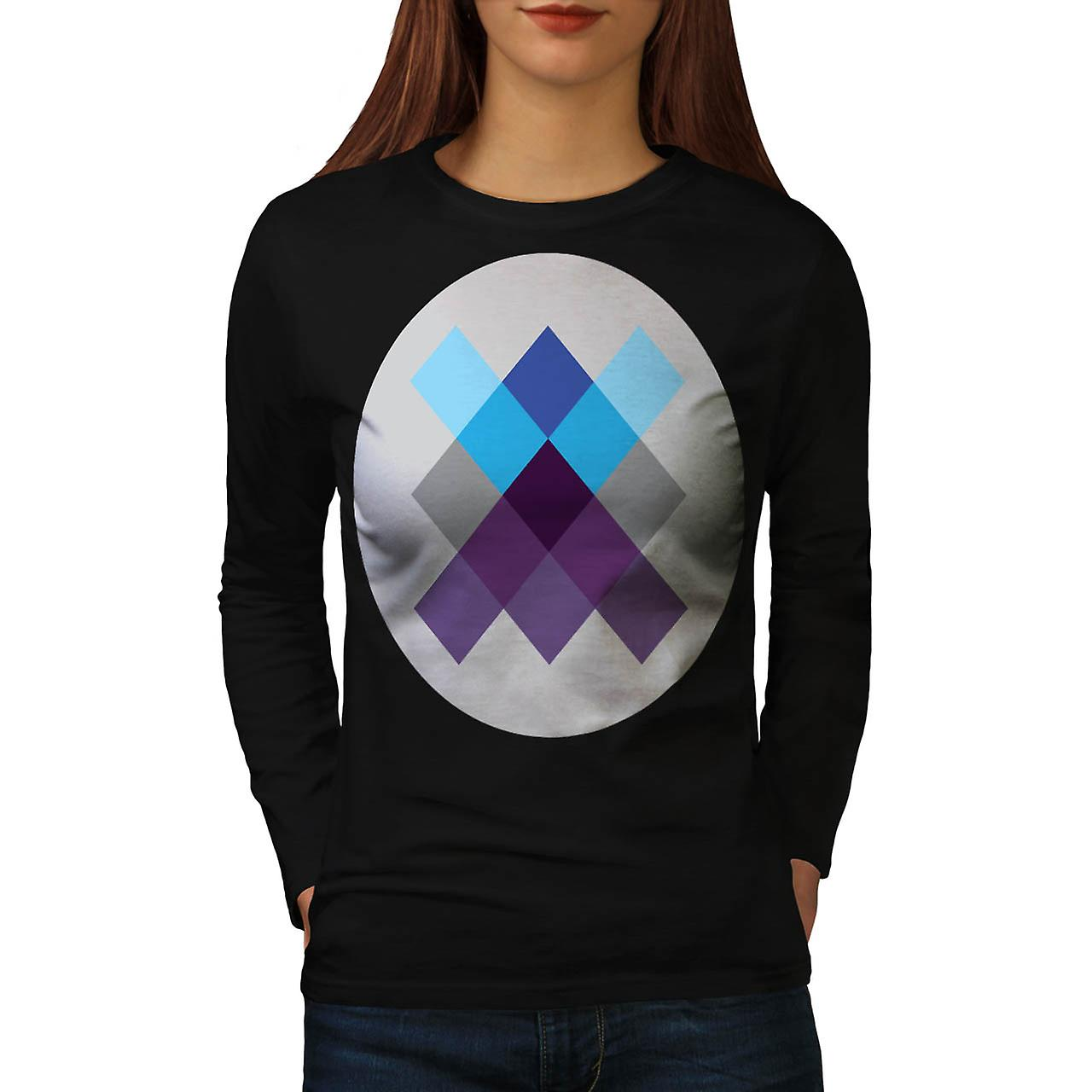Multi Square Circle Crazy Pattern Women Black Long Sleeve T-shirt | Wellcoda