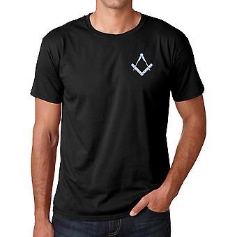 Square des francs-maçons et boussole brodé Logo - coton Ringspun T Shirt