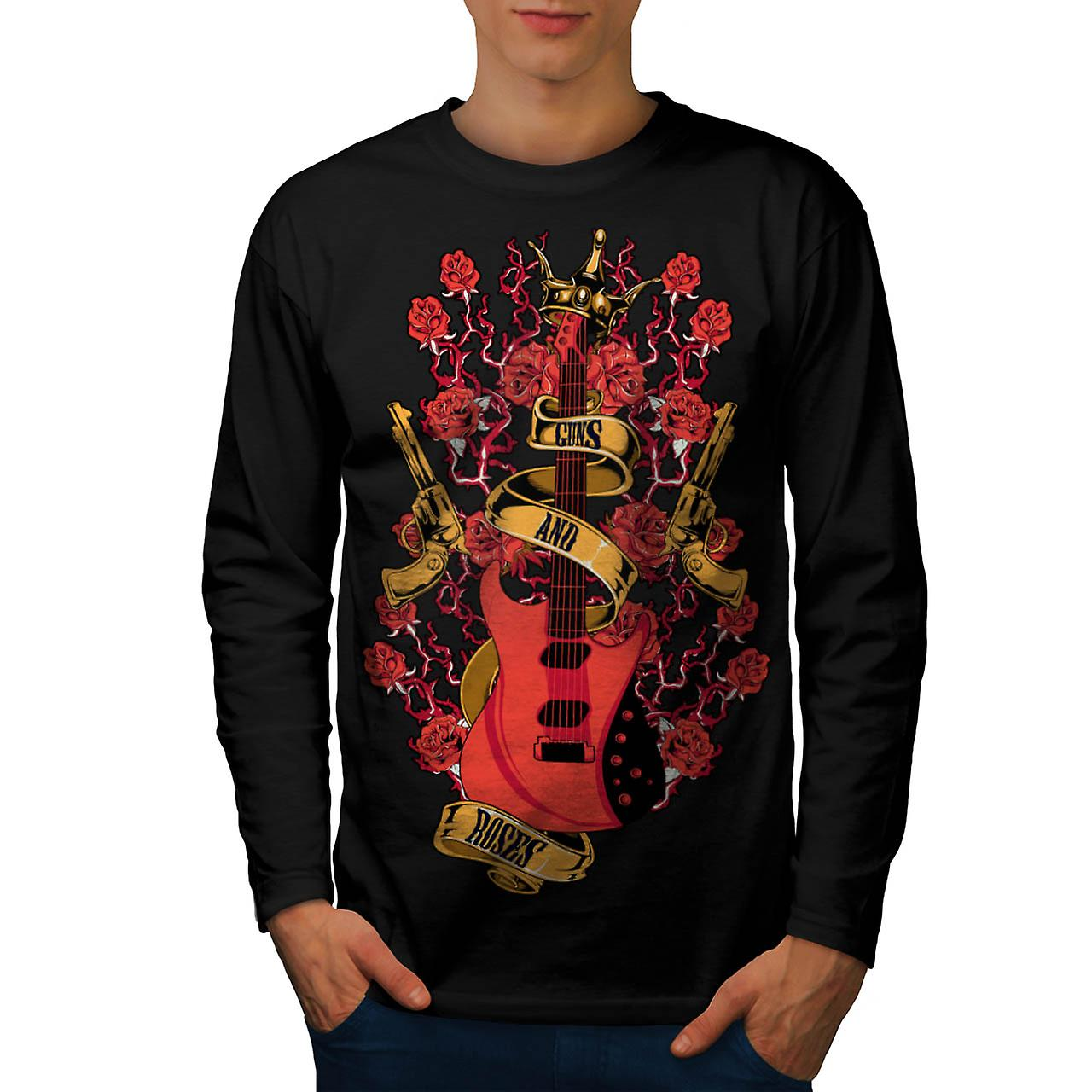 Rosas y pistolas Rock Band Music Men negro camiseta de manga larga | Wellcoda