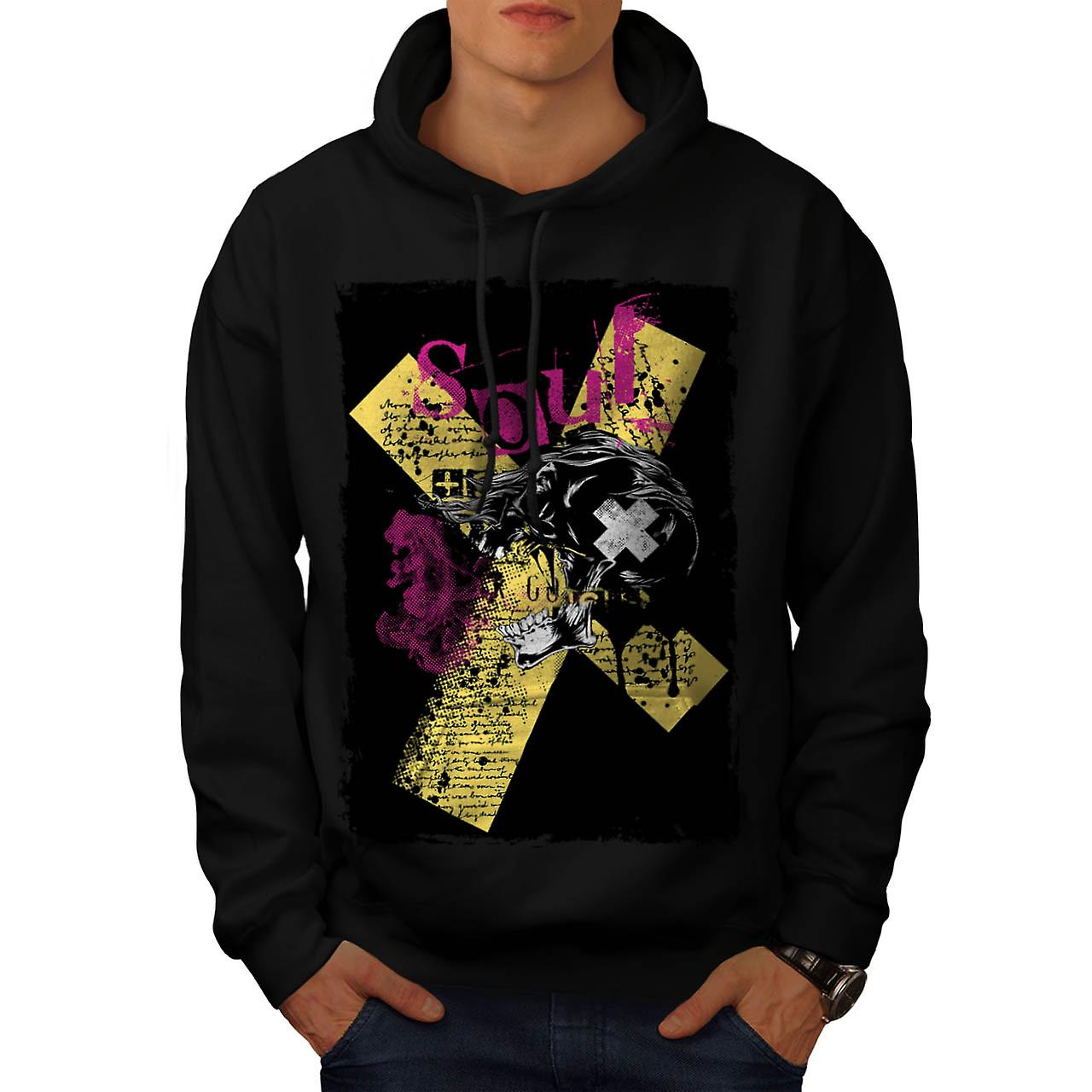 Cursed Soul Skull USA Haunted Men Black Hoodie | Wellcoda