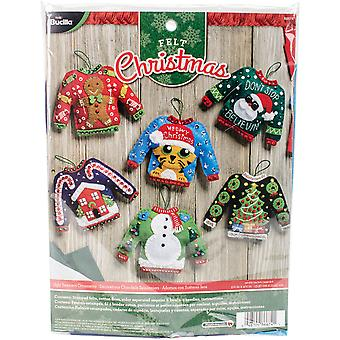 Ugly Sweater Ornaments Felt Applique Kit-6/Pkg 86674