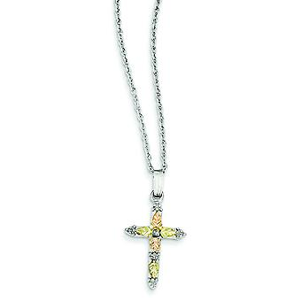 Sterling Silver and 12k Cross Necklace - 18 Inch