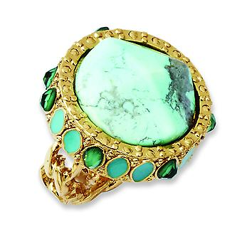 Laundry Gold-tone Resin and Simulated Composite Stones Ring - Ring Size: 7 to 8