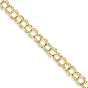14k Yellow Gold Lobster Claw Closure Solid Triple Link Charm Bracelet - Lobster Claw - Length: 7 to 8