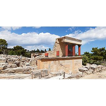 North Entrance of Minoan Palace Knossos Iraklion Crete Greece Poster Print