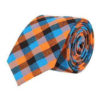 Mr. icone narrow tie Club tie dark blue Plaid light blue orange
