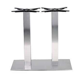 Danielle Twin Brushed Stainless Steel Oblong Table Base Size / Height