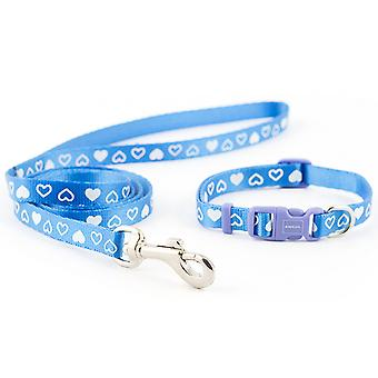 Small Bite Collar & Lead Set Heart Blue (Pack of 3)