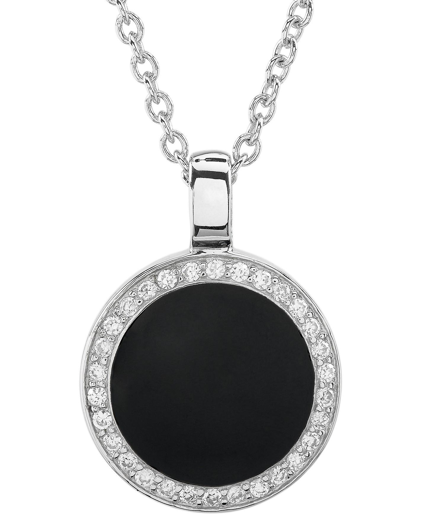 Burgmeister chain and pendant JBM1053-421, 925 sterling silver rhodanized, black varnish, white zirconia