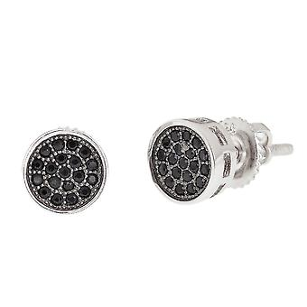 925 sterling silver MICRO PAVE earrings - ROUND BK 7 mm