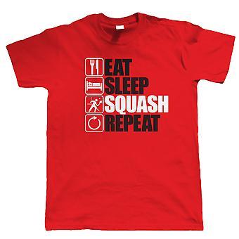 Eten slaap Squash Repeat, Mens grappig, sportieve T Shirt