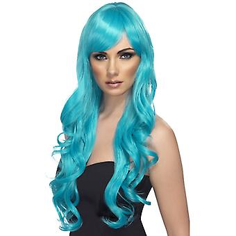 Require wig aquamarine long curly with bangs