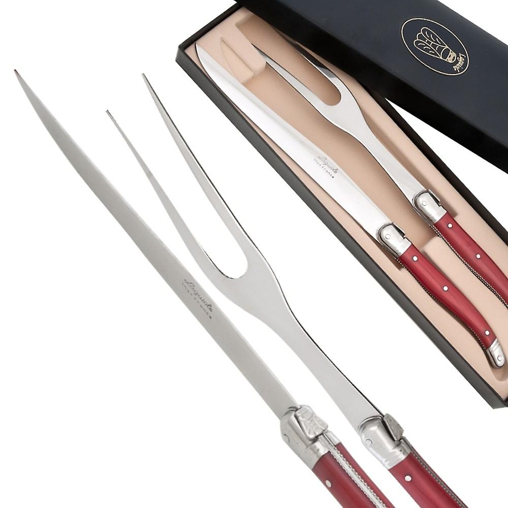 Carving Set Laguiole pearlized red color Direct from France