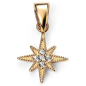925 Silver Star Gold Plated And Zirconium Necklace