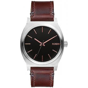 Nixon The Time Teller Watch - Grey/Rose Gold/Brown