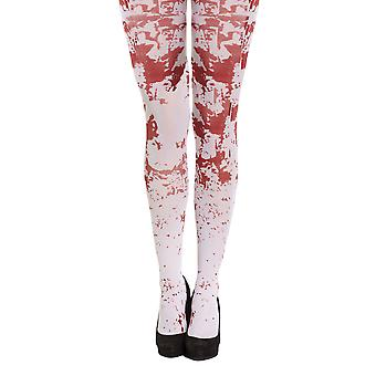 Vitt blod stänkte Skelton / Zombie Tights Halloween Fancy Dress tillbehör