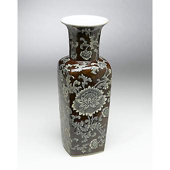 AA Importing 59704 Square Brown And Gray Vase