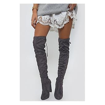 The Fashion Bible Grey Suede Over The Knee Boots