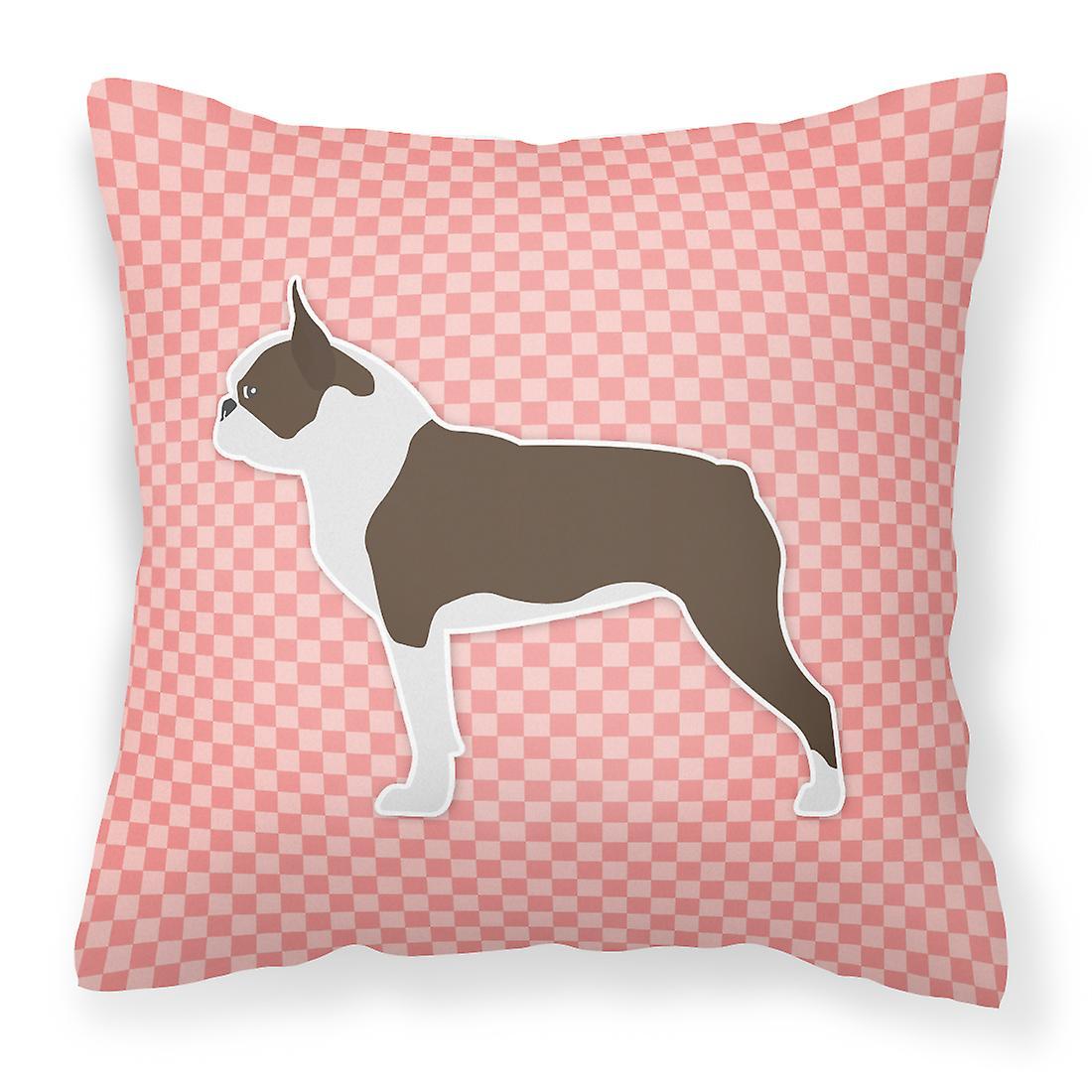 Boston Oreiller Décoratif Terrier Damier Tissu Rose CWroxBed