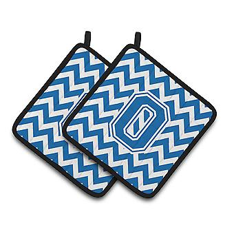 Letter O Chevron Blue and White Pair of Pot Holders