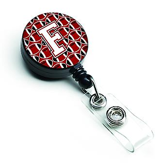 Letter F Football Cardinal and White Retractable Badge Reel