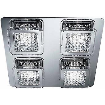 Searchlight 7324-4CC Quadrant 4 Light, 48 LED Square Flush Ceiling Light In Chrome