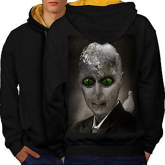 Alien UFO Mystic Fantasy Men Black (Gold Hood)Contrast Hoodie Back | Wellcoda