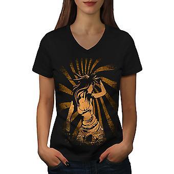 Spiral jente Dance musikk kvinner BlackV-hals t-skjorte   Wellcoda