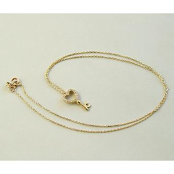 Gold necklace and zirconia hearts keychain