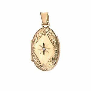 9ct Gold 22x15mm diamond set hand engraved oval Locket