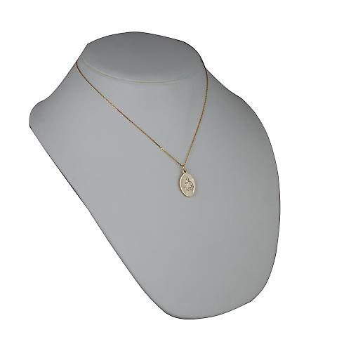 9ct Gold 21x15mm oval St Jude Pendant with a cable Chain 18 inches