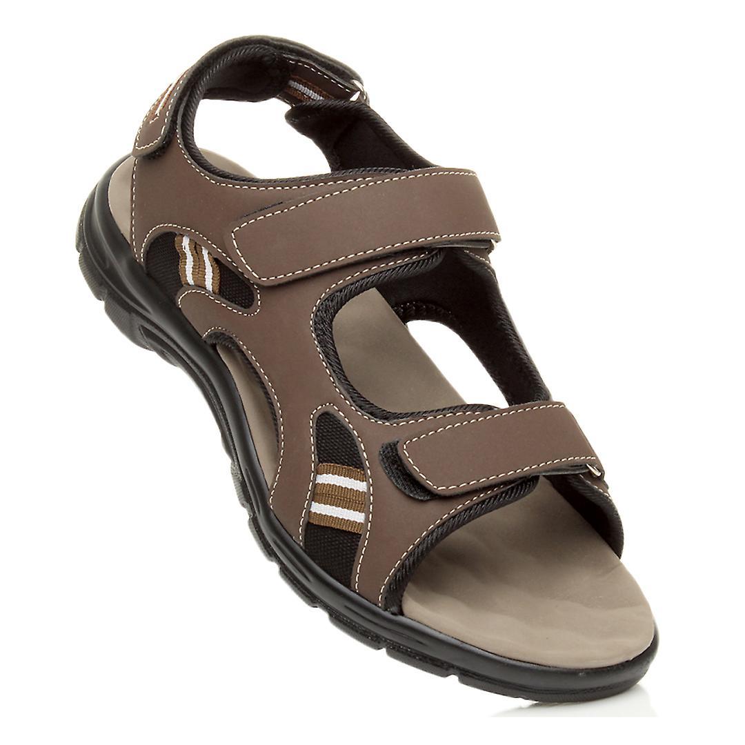 Ajvani mens flat low heel flat hook & loop strap summer flexible casual sandals