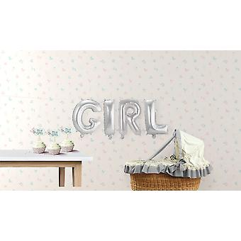 4er Folienballon Set GIRL Buchstaben Girlande silber circa 36cm hoch