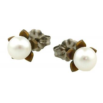 Ti2 Titanium Small Flower and Pearl Stud Earrings - Tan Beige