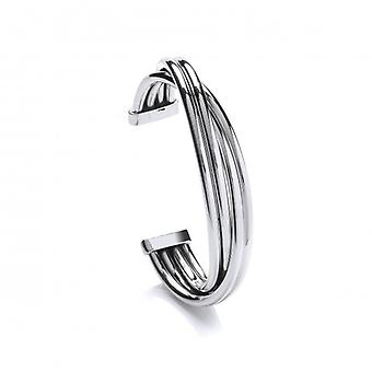 Cavendish French Bold Silver Weave Cuff Bangle