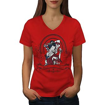 Girl Japan Woman Women RedV-Neck T-shirt | Wellcoda
