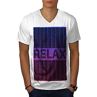 Relax Quote Chill Men WhiteV-Neck T-shirt   Wellcoda