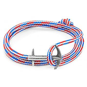 Anchor and Crew Admiral Silver and Rope Bracelet - Red/White/Blue