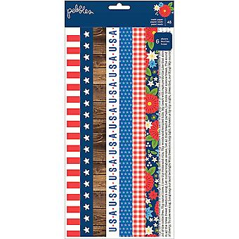 America The Beautiful Washi Tape Strip Sheets 6/Pkg