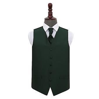 Mørk grønn Solid sjekk bryllup vest & Cravat sett