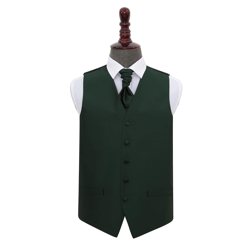 Dark Green Solid Check Wedding Waistcoat & Cravat Set