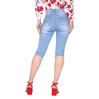 KRISP  Womens Stretch Denim  High Waisted Cropped Skinny Jeans Knee Long Summer Shorts