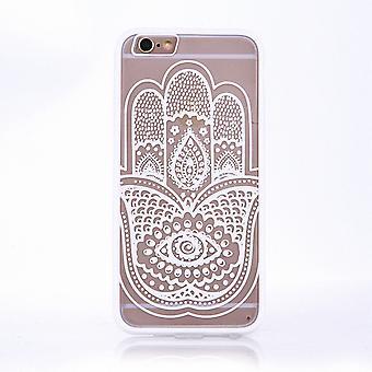 Mobile Shell mandala voor Samsung Galaxy J3 2016 ontwerp gevaldekking van het motief hand Fatima cover tas bumper wit
