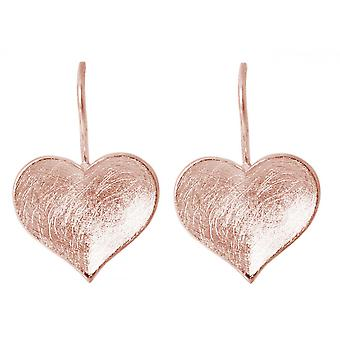 Ladies heart earrings 925 Silver rose gold plated 2.5 cm