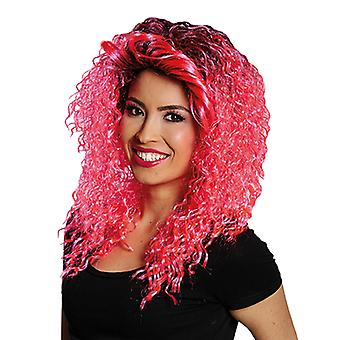 Danny pink shoulder length curly long pink curls wig ladies approach Black