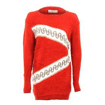 Женская длинный рукав Zigzag Печать теплый свитер зимой женщин меха перемычки