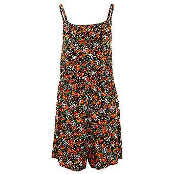 Ladies ärmellos Riemchen Cami Halskrause Floral Print Damen Sommer Shorts Playsuit
