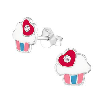 Cupcake - 925 Sterling Silver Crystal Ear Studs - W38260x