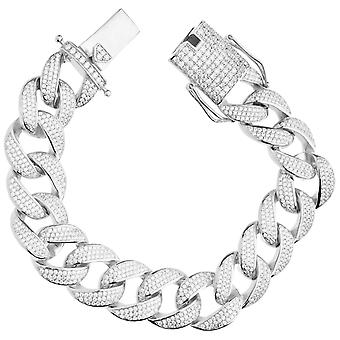 Premium Bling 925 Sterling Silber Armband - MIAMI CURB 18mm